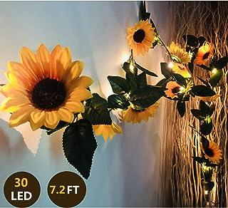 Fielegen 30 LED 7.2ft Artificial Sunflower Garland String Lights Sunflower Home Decor Battery Powered String Fairy Lights ...