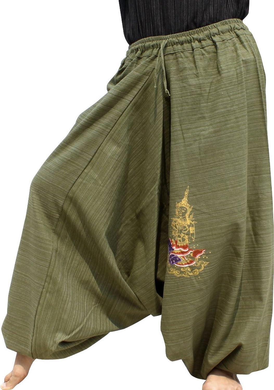 RaanPahMuang Elastic Ankle Aladdin Pants Pants Painted Meditation Olive Green