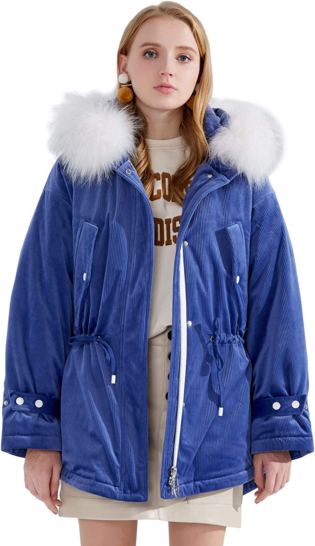 BOSIDENG Women's Winter Velour Down Jacket Big Real Fur Collar Hooded Down Coat Fashion Slim Parka Short Thick Outerwear