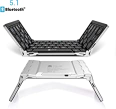 iClever Bluetooth Keyboard, Bluetooth 5.1 Foldable Wireless Keyboard with Portable Pocket Size, Aluminum Alloy Housing, Carrying Pouch, for iOS Windows Android Tablets, Laptops and Smartphones