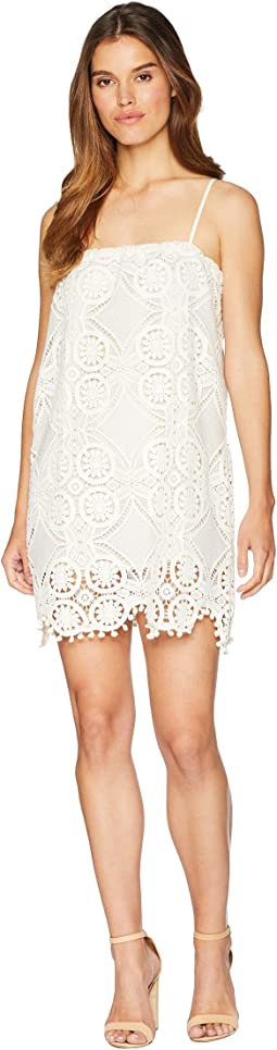 Danna Medallion Patterned Lace Dress with Bobble Trim