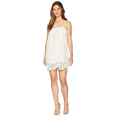Jack by BB Dakota Danna Medallion Patterned Lace Dress with Bobble Trim (Cloud White) Women