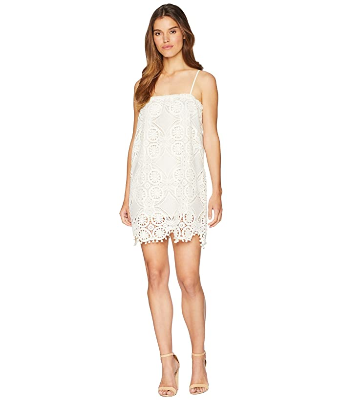 Jack by BB Dakota Danna Medallion Patterned Lace Dress with Bobble Trim (Cloud White) Women