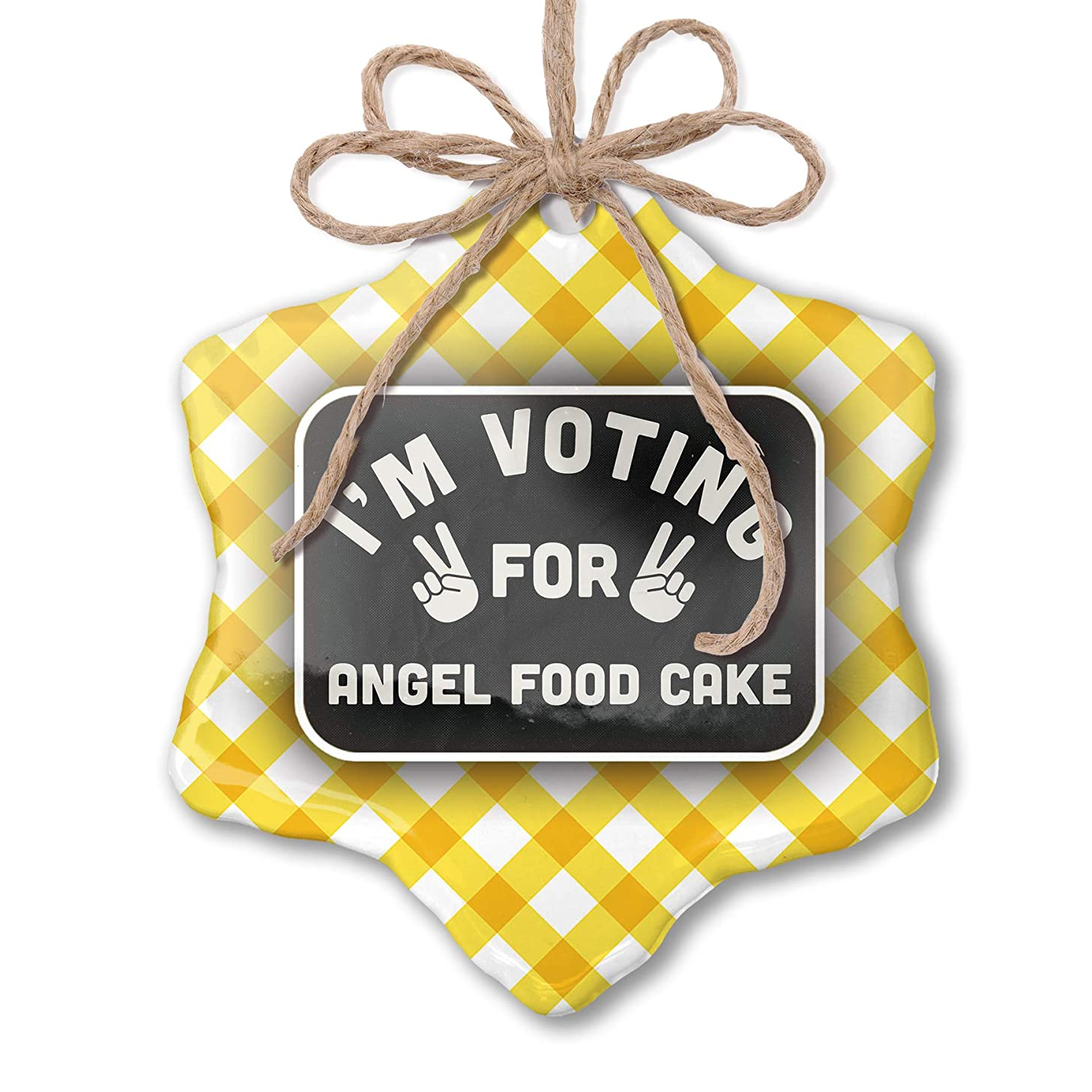 NEONBLOND Christmas Ornament I'm Voting for Angel Food Cake Funny Saying Yellow Plaid