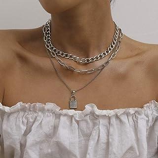 Kercisbeauty Miami Cuban Link Chain Choker Lock Charm Necklace for Women and Girls Multi Layered Boho Jewelry Egirls Eboy ...