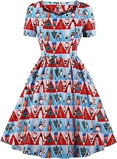 Women's Triangle Fancy Pattern Print Tea Length 1950s Vintage Dress
