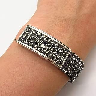 925 Sterling Silver Lois Hill Granulated Design Braided Link Bracelet 6