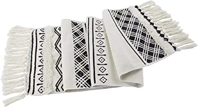 Fennco Styles Boho Farmhouse Woven Fringe Tasseled 14 x 71 Inch Tribal Table Runner – White and Black Table Runner for Everyday Use, Dinner Parties, Special Events and Home Décor