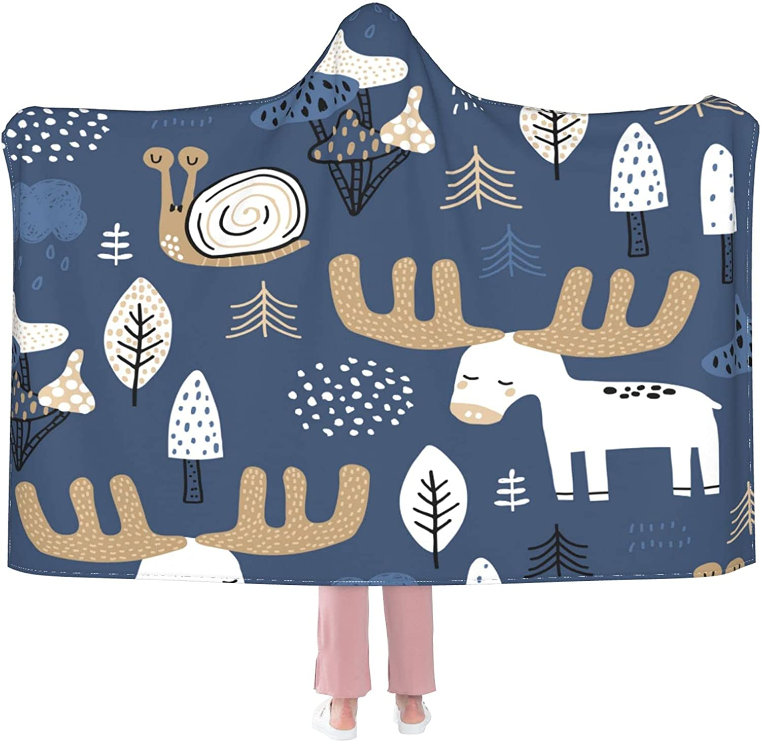 Blue Moose Wearable Blanket Reservation Houston Mall Flannel Hooded Soft