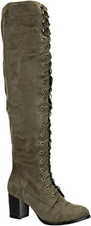 Women Faux Suede Over The Knee Lace Up Chunky Heel Combat Boot FI01