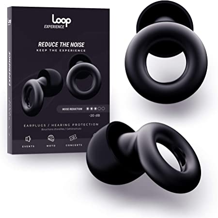 Loop Experience Noise Reduction Ear Plugs – High Fidelity Hearing Protection for Concerts, Motorcycles, Drummers, Work and Noise Sensitivity – Ear Tips in XS, S, M, L – 20dB Noise Cancelling - Black