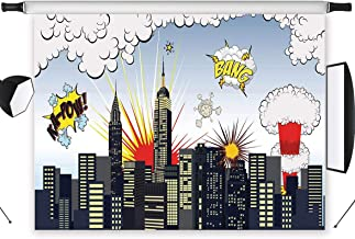 LB Super City Backdrop for Photography 7x5ft Kids Newborn Baby Shower Birthday Party Photo Background Photo Shoot Studio Prop Vinyl Customized HR01