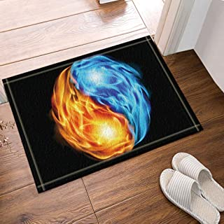 Creative Design Chinese Elements Flame Tai Chi Bath Rugs,Non-Slip Doormat Floor Entryways Outdoor Indoor Front Door Mat,Kids Bath Mat,15.7x23.6in,Bathroom Accessories
