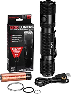 PowerTac M5 Tactical Flashlight, 1300 Lumens LED Flashlight, CREE XM-L2 U3 Flashlights High Lumens, Rechargeable Flashlight with USB Magnetic Charging Cable & 18650 Battery