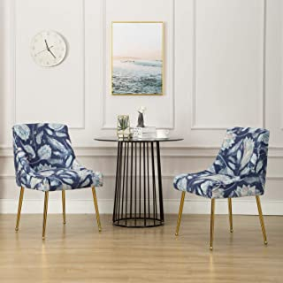 Mid Century Elegant Velvet Upholstered Dining Chair, Guest Chairs with Polished Gold Metal Legs for Living Room/Kitchen/Vanity/Patio, Set of 2,Retro Floral Pattern(Blue Flower)