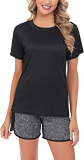 Abollria Two Piece Shorts Set for Women Tracksuit Shirt Shorts Sportswear Set Activewear Pajama Short Sets