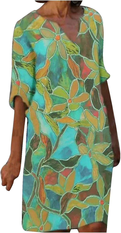 Women's Shift Dress Knee Length Dress Casual Loose Half Sleeve Floral Print Summer V Neck Casual Hot Vacation Dresses