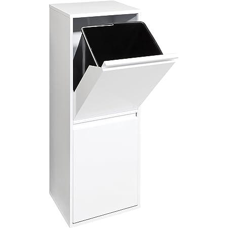 ARREGUI Basic CR201-B Recyclage en Acier, Poubelle de tri sélectif, 2 seaux, 2 x 17L (34L), Corps et Front en tôle laqué, Blanc, 90,5 x 30,5 x 24,5 cm