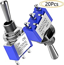 DIYhz Mini Toggle Switch AC 125V 5A Amps On/On 3 Terminals 2 Positions SPDT Toggle Switch 20Pcs