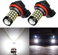 Alla Lighting 2000Lm H8 H16 H11 LED Fog Lights Bulbs 2835 51-SMD Super Bright H8 H11 LED Bulbs 12V H11 H8 Fog Light Replacement for Cars, Trucks, 6000K Xenon White
