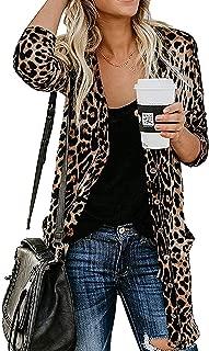 Women's Leopard Printed Cardigans Shirt Lightweight...