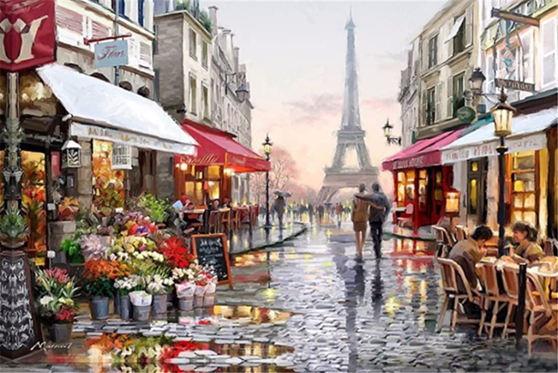 YEESAM ART New DIY Paint by Number Kits for Adults Kids Beginner - Eiffel Tower Paris France Romance Romantic Love Lovers 16x20 inch Linen Canvas