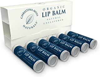 Lip Balm - Lip Care Therapy - Lip Butter - Made With Organic & Natural Ingredients - Repair & Condition Dry, Chapped, Cracked Lips - 6 Pack, Unflavored - Christina Moss Naturals