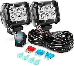 Nilight LED Light Bar 2PCS 18W Spot Led Off Road Lights 12V 5Pin Rocker Switch LED Light Bar Wiring Harness Kit, 2 Years W...