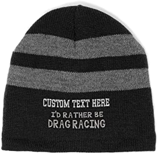 Custom Striped Beanie for Men & Women I'd Rather Be Drag Racing Embroidery