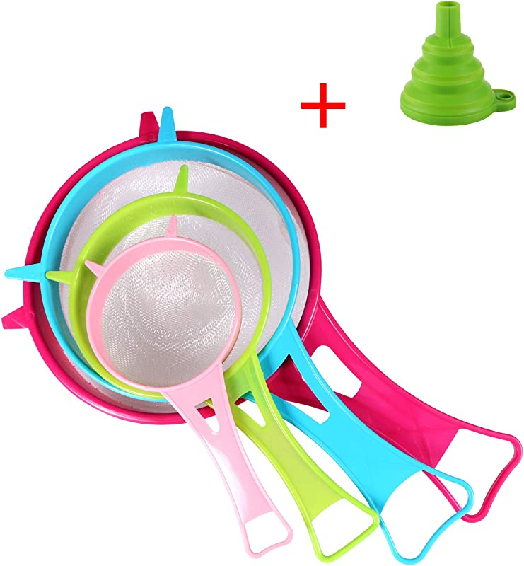 Fine Mesh Strainer Colander Benbo 4Pcs Plastic Food Soy Milk Flour Sieve Long Handle Icing Sugar Sifters Strainer Tea Filter And Silicone Foldable Funnel For Kitchen