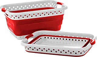 Pop & Load Collapse & Store Collapsible Basket Ultra-Slim Utility POP & LOAD- LAUNDRY, Large Rect - 2 Handles, RED