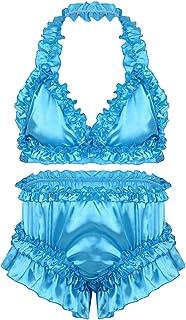 Freebily Men's Stain Ruched 2 Piece Pajamas Lingerie Set Sissy Bra Top Briefs Xdress Underwear
