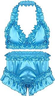 Sissy Men's Frilly Satin Ruffled Bra Top Panties Halter Bikini Lingerie Nightwear Set