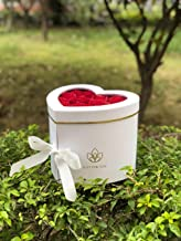 [USA-SALES] Premium Quality Heart Shaped Flower Box, Floral Hat Box, with Lids, Size 9x8x6.5, for Luxury Style Flower Arrangements, Ships from USA (White)
