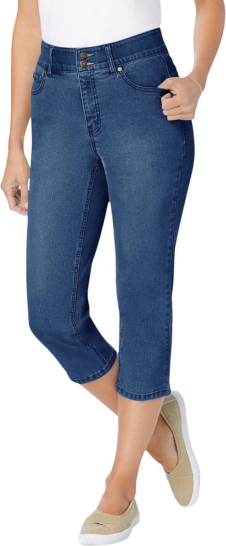 Woman Within Women's Plus Size Tummy Tamer Capri Jean