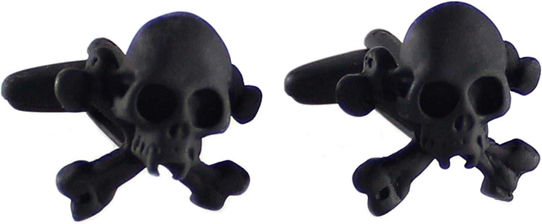 MENDEPOT Skull Cufflinks with Box Cufflink Pirate Logo Cufflinks in Box