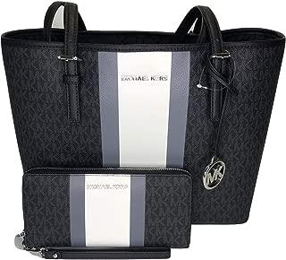 MICHAEL Michael Kors Jet Set Travel MD Carryall Tote bundled with Michael Kors Jet Set Travel Large Travel Continental Wallet (Signature MK Black Center Stripe)