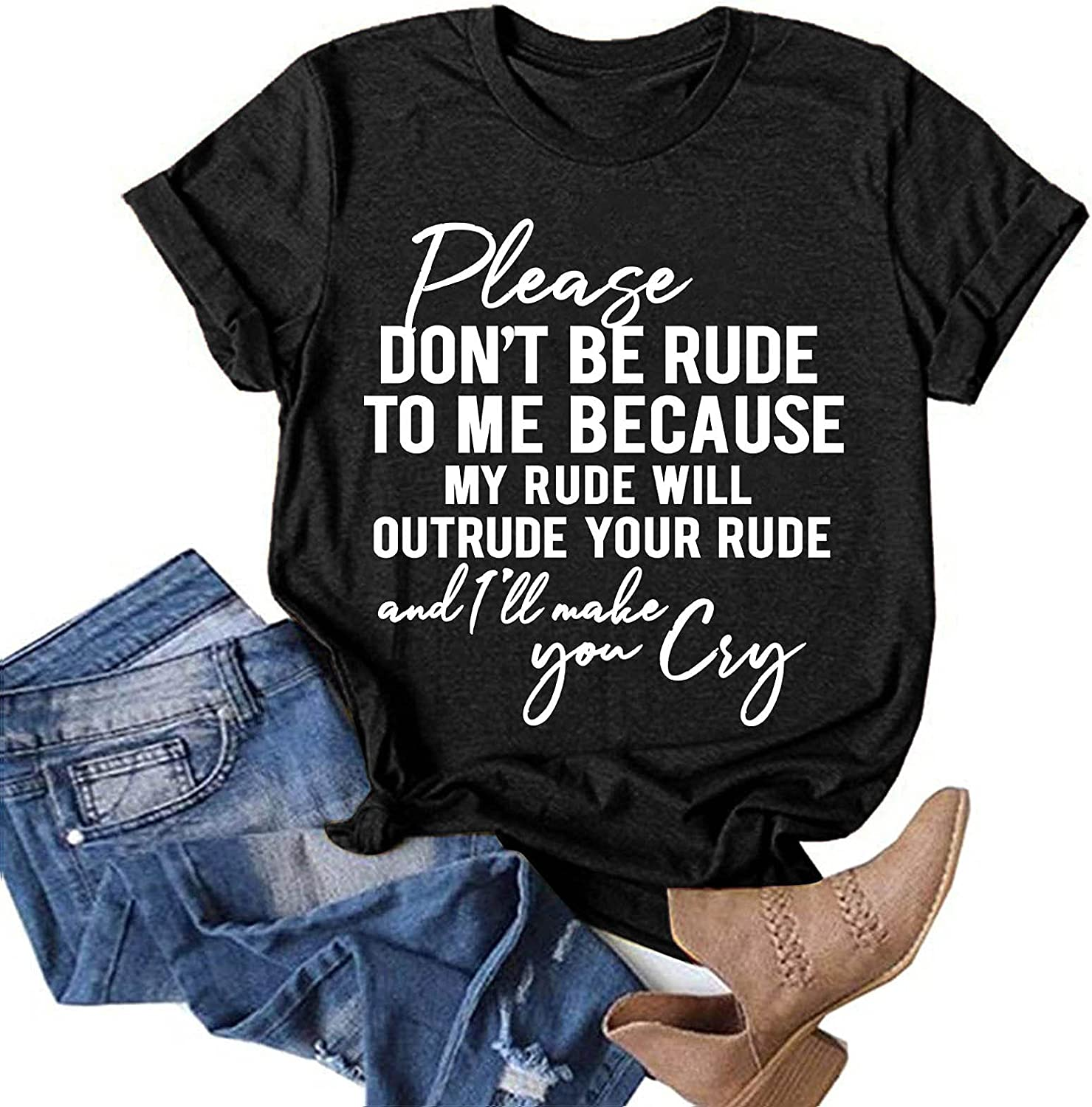 Jaqqra Summer Tops for Women, Womens Short Sleeve Tops Letter Print Crew Neck T-Shirts Flowy Casual Basic Tunic Tee Top