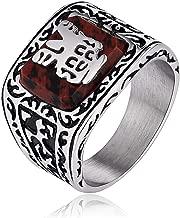 ANAZOZ Mens Rings Stainless Steel Signet Ring Punk Chic Pattern Engraved Ring