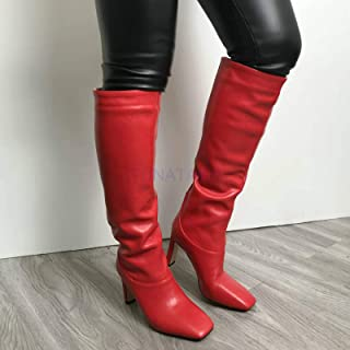 Faux Leather Ladies Knee High Boots Square Toe Boots Ladies Long Thin Block High Heel Boots Black Beige Yellow Green