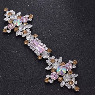 Exquisite multi color glass rhinestones glass appliques for wedding dress belt sash patches sew on decorations for bridal ...