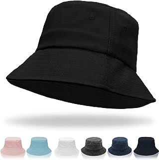 Women Bucket Hats - Summer Fisherman Hat Men Cotton Plain Bucket Hat Foldable Beach Sun Hats for Women Men