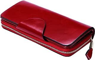Itslife Large Luxury Women's RFID Blocking Tri-fold Leather Wallet Zipper Ladies Clutch Purse(Red)