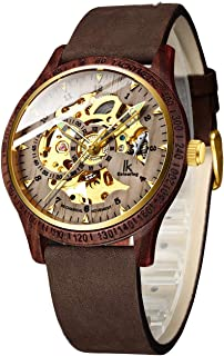 Gute Men's Wooden Watches, Automatic Mechanical Wooden Case Wrist Watch,Casual Skeleton Lumious Lightweight Wrist-Watch Genuine Leather Bracelet/Wood Band