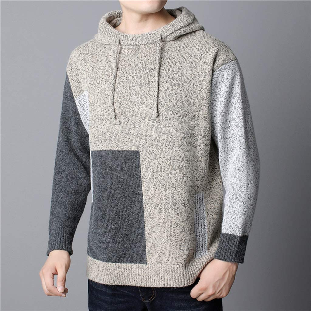 XJJZS Spring Autumn Men Sweaters and Pullovers Spliced Color Knit Sweater Men With Hooded Plus size XL -6XL Knitted Pullover Men (Color : B, Size : XXXXXX-Large)