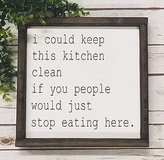 565pir Letrero de Cocina con Texto en inglés «I Could Keep This Kitchen Clean» y Texto en inglés «Farmhouse Kitchen Shabby Chic»