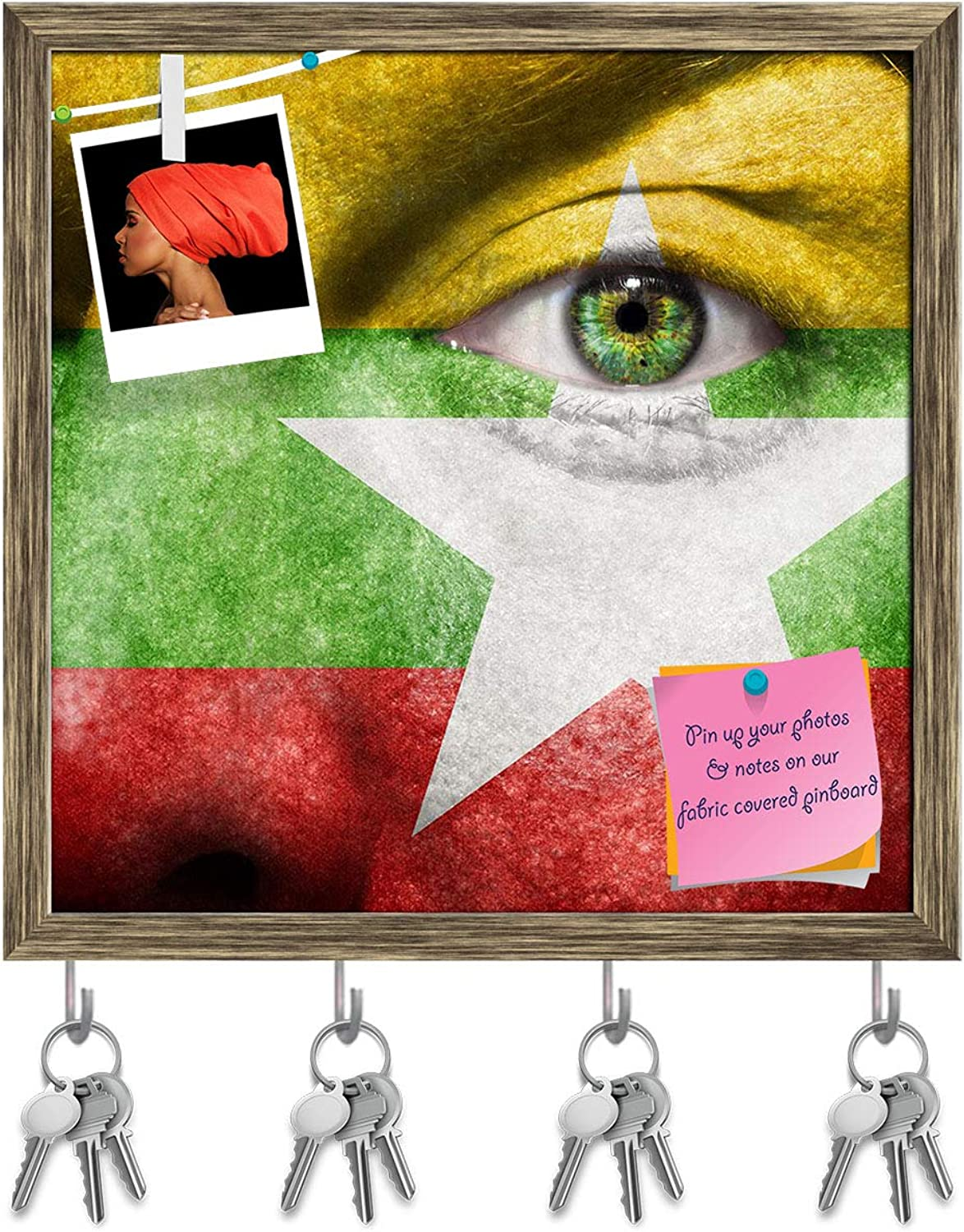 Artzfolio Myanmar Flag Painted On Face Key Holder Hooks   Notice Pin Board   Antique golden Frame 20 X 20Inch