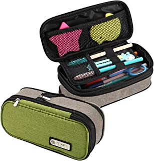 Big Capacity Pen Case, Expandable Colored Large Storage Pencil Pouch Marker Pen Case Stationery Bag Holder Pouches with Zipper for Middle High School Office College Student (Green)