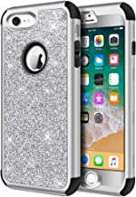 iPhone 8 Case, iPhone 7 Case, Hython Heavy Duty Full-Body Defender Protective Case Bling Glitter Sparkle Hard Shell Armor Hybrid Shockproof Rubber Bumper Cover for iPhone 7 and iPhone 8, Silver