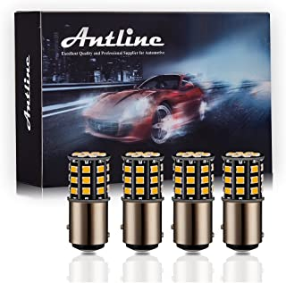 Antline 1157 2057 2357 7528 BAY15D LED Bulbs Amber Yellow, 12-24V Super Bright 1000 Lumens Replacement for Turn Signal Blinker Lights, Side Marker Lights (Pack of 4)